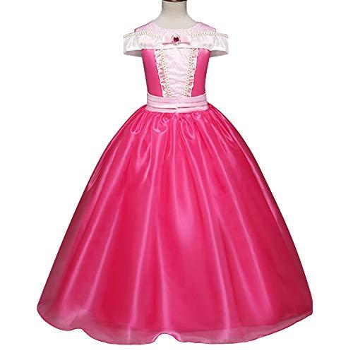 Charaktere Kostüm Dornröschen - Hope Dornröschen Prinzessin Aurora Kleid Mädchen Kostüm Weihnachten Halloween Birthday Party Kleider 3-8 Jahre,Pink-130 cm