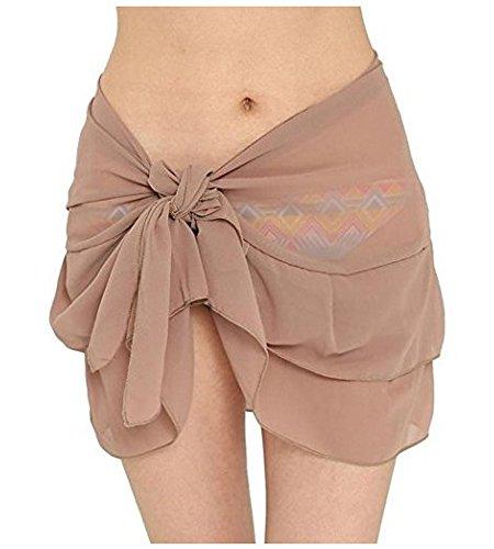 Helury Strandkleid Röck Damen Wickelrock Bikinikleider Badeanzug Bikini Cover Sommerkleid Chiffon Lang Sommer Bademode (Khaki) (Cover Sommerkleid)