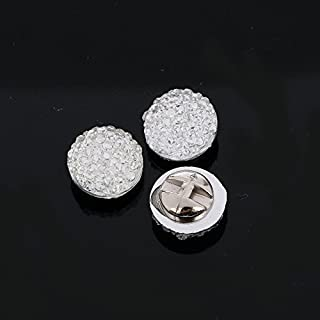 AB1 11mm x 20pcs Sew on Diamante ROUND BUTTONS Acrylic Crystal Rhinestone Disco (Silver)