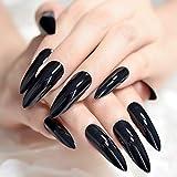 EchiQ - Uñas postizas extralargas y afiladas, color negro sólido con puntas de uñas ovaladas, Stilettos, gel UV.