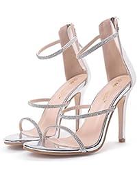 ZPFME Tacones De Aguja De Las Mujeres Tacones Altos Sexy Sandalias De Correa De Tobillo Señoras Del Verano Rhinestone Peep Toe Shoes Party Strappy Pumps Bombas