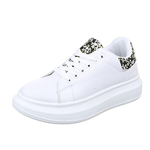 Damen Schuhe, KA620B, FREIZEITSCHUHE SNEAKERS Weiß Multi