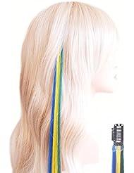 Fun-Clips pour les fans de Em–Clip Extensions de cheveux 45cm–Brésil–Vert, Jaune, Bleu