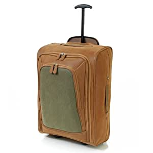 Karabar Super Lightweight Cabin Approved Luggage Bag 55 x 35 x 20 cm, 40 Litres, 1.5 kg, 3 Years Warranty! (Green/Tan)