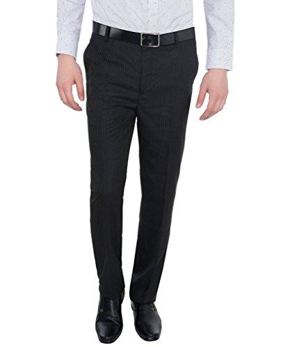 Only Vimal Men's Black Self-designed Slim Fit Formal Trouser
