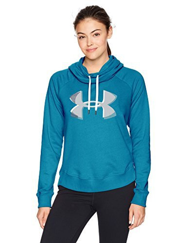 Under Armour Women's Fashion Favorite Hoodie Exploded Logo Jacket, Bayou Blue/Midnight Navy, X-Small (Under Hoodie Armour Womens Logo)
