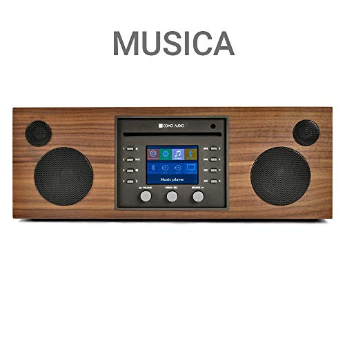 Como Audio: Musica Wireless Speaker - Hand-Crafted Veneer Cabinets- One Touch Streaming, Internet Radio, Bluetooth, Wi-Fi - CD Player (Walnut/Black)