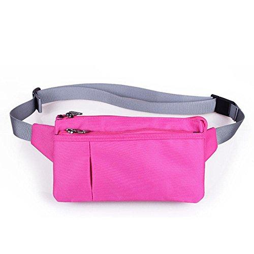 BUSL Wandern Hüfttaschen Reisedokumente. Handy Anti-Diebstahl-Geldbörse Eintritt Paket unisex wasserdicht Lauf dünn schließen kleine Taschen-Tasche rose red