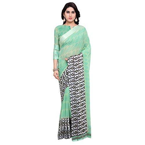 Vaamsi Satin Border Georgette Printed Saree (LEGACY1003_Green_6.3 m length)