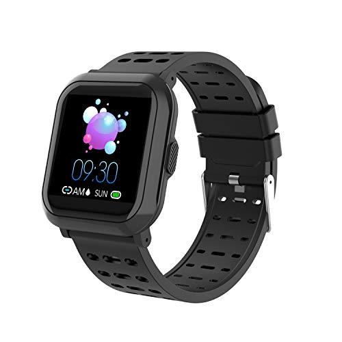 Sundaymot Smartwatch, Fitness Tracker Uhr Armband Voller Touch Screen Sport Kalorienzähler Wasserdicht IP68 mit Blutdruck pulsmesser Bluetooth Schrittzähler Herren Damen Kompatibel für IOS Android