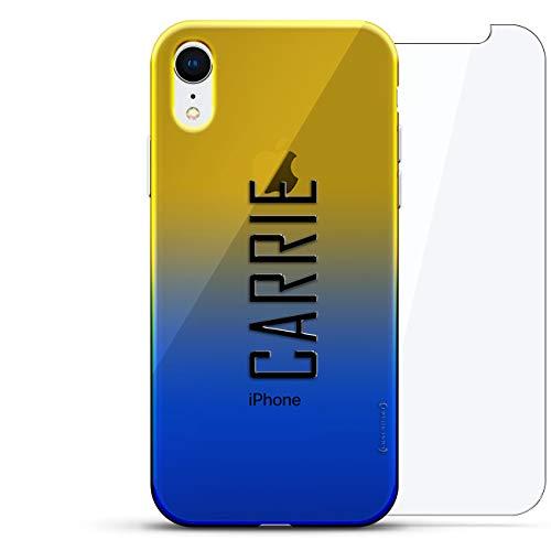 Luxendary Designer Schutzhülle für iPhone XR, 3D-Druck, modisch, hochwertig, Chamäleon-Effekt, 360 schützendes Glas, Dämmerungsblau Tamara, NAME: CARRIE, STIL MIT MODERNER SCHRIFTART, Blau (Dusk Blue)