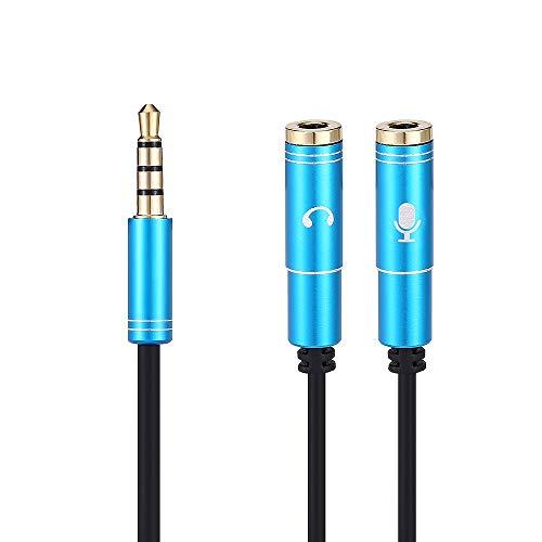Wenquan,Adaptateur de Casque 35cm Câble séparateur Y 3,5 mm avec séparateur Audio et connecteur Audio séparés Convertisseurs mutuels(Color:Bleu)