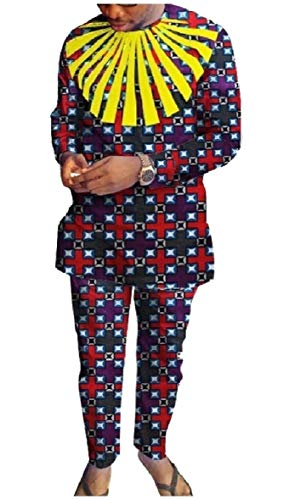 CuteRose Mens African Printed Dashiki Fine Cotton Pants with Tops Sets 7 3XL -