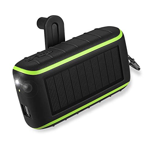 Workingda Power Bank 10000mAh Caricabatterie Portatile Solare Power bank, 2 Porte USB Batteria Esterna con Torcia a LED