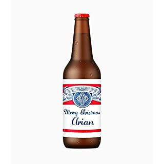 Arian x4 Merry Christmas Personalised Name Beer bottle budweiser label stickers self adhesive glossy Merry Christmas design The Perfect Gift or stocking filler (STICKERS ONLY - Bottle not included)