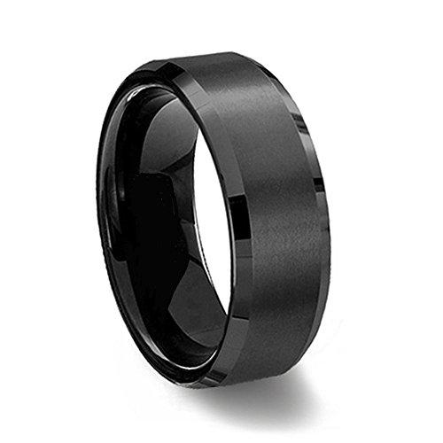 Gemini Damen-Ring Titan , Herren-Ring Titan , Freundschaftsringe , Hochzeitsringe , Eheringe, Farbe: Schwarz Breite 7mm Größe54 (17.2)