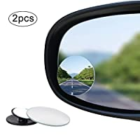 nuoshen Blind Spot Mirrors, Round Shape Wide Angle Car Wing Mirror 360°Rotatable Waterproof Convex Blind Spot Stick On Side Mirror, 2 Pack