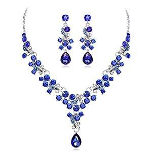 Kette Damen, HUIHUI Halskette Anhänger Damen elegant Strass Perlenkette Halskette Pendant Halskette Kette amulett zum öffnen mit kette Halskette für Frauen Mädchen + Ohrringe