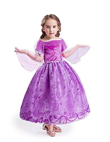 ELSA & ANNA UK Girls Princess Party Dress Outfit Snow Queen Fancy Dress Halloween Costume Cosplay Dress NW12-RAP