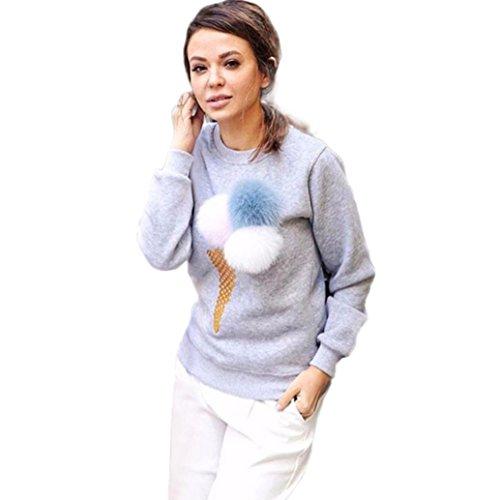 donne felpa pullover, FEITONG Misaki camicia camicetta casuale a maniche lunghe palla peluche (Grigio, M)