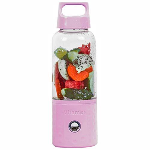 Calvinbi Haushalt 500ML 4-Blatt ragbarer Entsafter Mixer Fruchtsaftpresse Smoothie Maschine USD Wird aufgeladen Saftschale Reisebecher