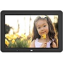 Marco de Fotos Digital con Sensor de Movimiento, 12 Pulgadas, HD 1280 * 800, Memoria USB de 8GB, Para Música MP3 Video MP4 Compatible con OTG Control Remote - Negro