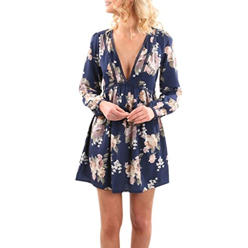 Damen Kleid Internet V-Ausschnitt Vintage Long Sleeve Maxi Abend Party Beach Blumen Mini Kleid (L, blau)