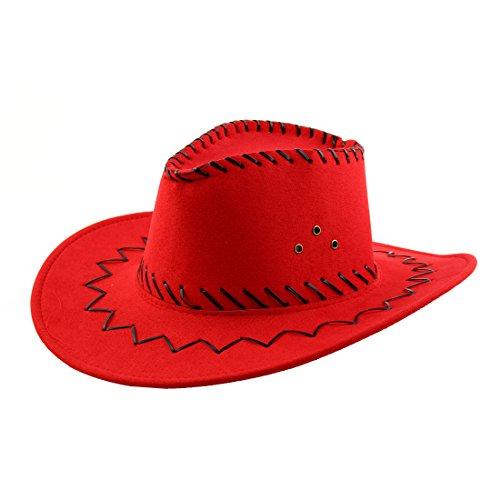 ne verstellbarer Tragegurt breiter Krempe westlichen Stil Sonnenhut Cowboyhut Red (Outdoor-westliches Dekor)