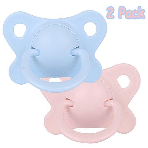 Thumb-Shaped Massage Schnuller mit Reise-Fall, Kidsmile Neugeborenes BPA freies ABS + Silikon M Größe Beruhigen Sie Baby-Schnuller 6M +, 2 Satz-Baby Rosa + Baby-Blau (Schmetterling)