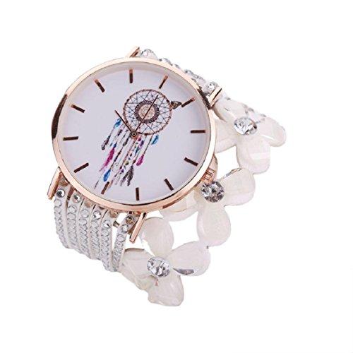 Damen Uhr, OverDose Luxusmode beiläufige Quarz elegante Stern Kristall Diamant Kristall Uhr (Weiß)