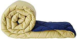 Amazon Brand - Solimo Microfibre Reversible Comforter, Single, Yellow and Blue