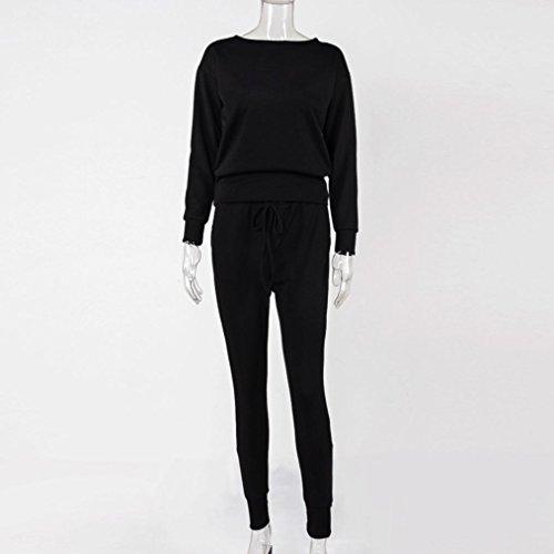 Yogogo 2Pcs SurvêTement Des Femmes Sweatshirt Ensembles De Pantalons Sport Lounge Wear Costume DéContracté Noir