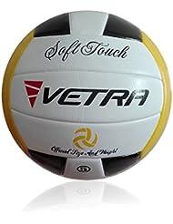 Vetra Voleibol Toque suave Volley Bola funcionario Tamaño 5 al aire libre cubierta playa Gimnasio Juego de Pelota Nueva (Negro / Aamarillo / Blanco)