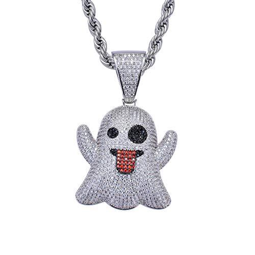 FIZZENN Unisex Diamant Emoji Ghost Anhänger Hip Hop Iced Out Kristall Halskette mit 60cm Edelstahl Seil Kette für Männer Frauen,Gold