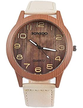 Souarts Damen Retro Holz Streifen Uhr Armbanduhr Quartz Analog mit Batterie Cremefarbig