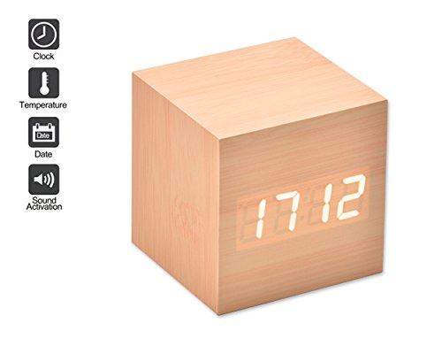 DSstyles LED Alarma Reloj madera digital