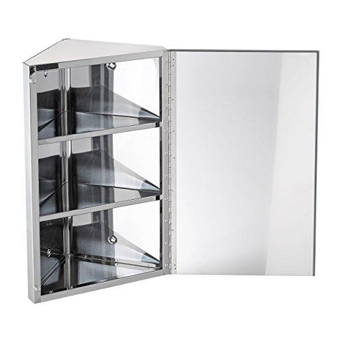 Harima-Badezimmer Spiegelschrank Eck Schrank mit Spiegel und 3Einlegeböden, Wand montiert, Rahmen aus Edelstahl - 3