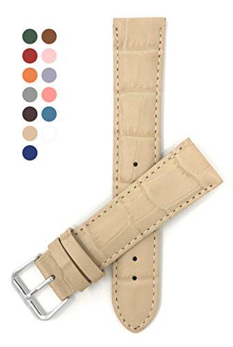 Leder Uhrenarmband 20mm für Damen, Beige, Alligatormuster, auch verfügbar in weiß, blau, rot, orange, rosa, dunkelgrün, heißes Rosa