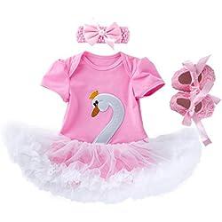Mounter Bébé Fille Vêtements 3pcs Ensemble Dessin Animé Cygne Princesse Robe + Bandeaux + Chaussures Mis Tenue