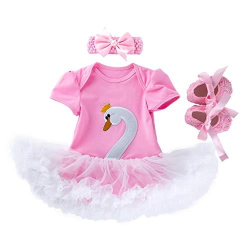 Kinder Kostüm Schwan Prinzessin - LIGESAY-Baby Kleinkind Mädchen Kleidung Set Cartoon Schwan Prinzessin Kleid + Stirnbänder + Schuhe Set Outfit Langarm Kleider Schnürung Infant Ruffle Einhorn Bowknot