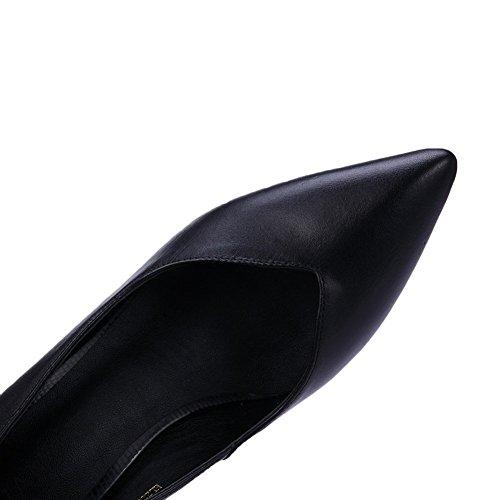 Adee toe Bomba Couro Sapatos Sólido Senhoras Apontou Preto dWOFwqdAxZ