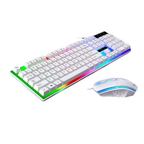 dezirZJjx Gaming Tastatur und Maus, Tastatur-Maus, 2 x ergonomische LED Hintergrundbeleuchtung, kabelgebunden, Gaming Maus Set weiß