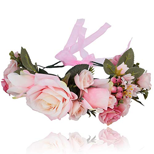 AWAYTR Boho Blumenkrone Stirnband Festival Kopfschmuck - Handgefertigt Blume Haarkranz mit Band Beere Blumenstirnband für Frauen und Mädchen Kleid (Rosa)