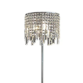 GX Floor Lamp European Luxurious Crystal Floor Lamp, Living Room Bedroom Study Romantic Transparent Pendant Bedside Iron Body Crystal Lamp Cover Floor Lamp Home Decoration A+