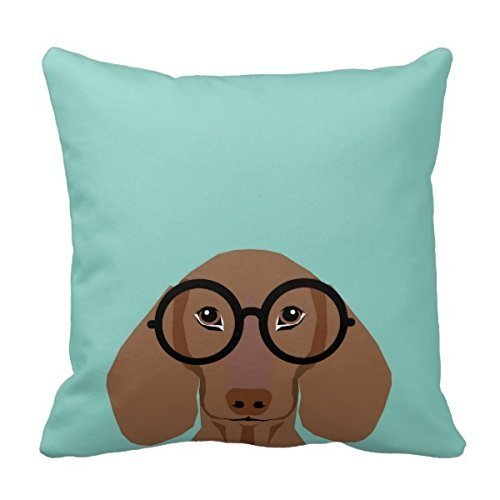 Zierkissenbezüge, Throw Pillow Covers, Throw Pillow case, cap Cute Doxie With Hipster Fashion Glasses - Daschund Home Throw Pillow Case Pillow Case Covers Decorative Cover For Sofa 18X18 Inches