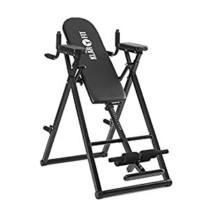 Klarfit Power-Gym – Inversionsbank, Hang-up-Rückentrainer, Rücken-Bank, 6-in-1-Multitrainer, Inversion, Push-Ups, Squats, Chin-Ups, Dips & Ab-Training, bis 120 kg, verstellbar, schwarz