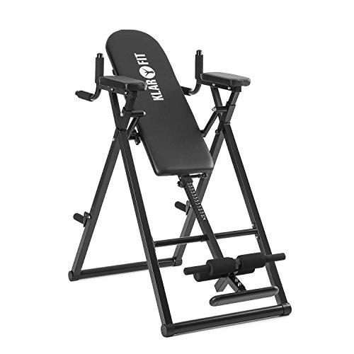 Klarfit Power-Gym • Table d'inversion • Banc lombaires • 6-en-1-Multitrainer • Entraînement inversion, pompes, squats, tractions, dips & abdos • jusque 120 kg • réglable • noir