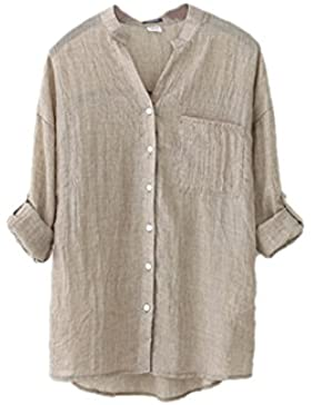 Women 's Cotton Linen Solid Camisa Casual Loose Blusa Botón Tops