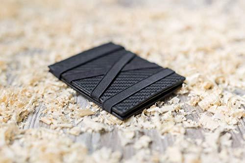 CALEMA MAGIC FOLDER - Handmade Geldklammer, Portemonnaie, Brieftasche, Geldbeutel für Herren aus Carbonleder - Schwarz