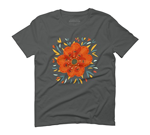 Decorative Whimsical Orange Flower Men's Graphic T-Shirt - Design By Humans Anthracite